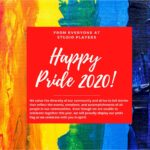 a rainbow backdrop with the message We value the diversity of our community and strive to tell stories that reflect theevents, emotions, and accomplishmentsof all people in our communities. Even though we are unable to celebrate together this year, we will proudly display ourpride flag as we celebrate with you in spirit