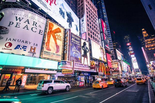 Broadway in NYC at night